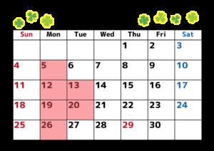 4月休日カレンダー