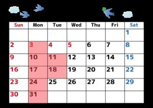 5月休日カレンダー